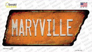 Maryville Wholesale Novelty Rusty Tennessee Shape Sticker Decal