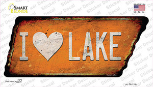 I Love Lake Wholesale Novelty Rusty Tennessee Shape Sticker Decal