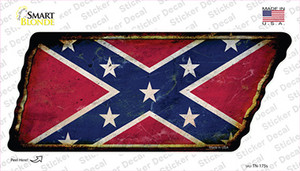 Confederate Flag Wholesale Novelty Rusty Tennessee Shape Sticker Decal