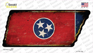Tennessee Flag Wholesale Novelty Rusty Tennessee Shape Sticker Decal