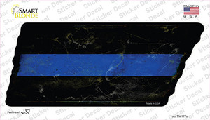 Thin Blue Line Wholesale Novelty Rusty Tennessee Shape Sticker Decal