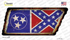 Tennessee Confederate Flag Wholesale Novelty Rusty Tennessee Shape Sticker Decal