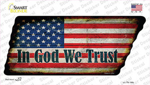 In God We Trust American Flag Wholesale Novelty Rusty Tennessee Shape Sticker Decal