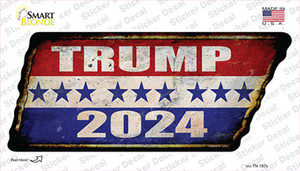 Trump 2024 Stripes Wholesale Novelty Rusty Tennessee Shape Sticker Decal