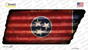 Corrugated Tennessee Flag Wholesale Novelty Rusty Tennessee Shape Sticker Decal