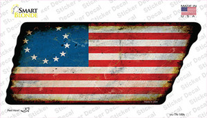 Betsy Ross American Flag Wholesale Novelty Rusty Tennessee Shape Sticker Decal