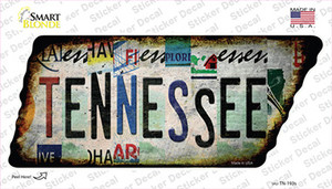 Tennessee Strip Art Wholesale Novelty Rusty Tennessee Shape Sticker Decal