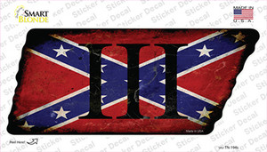 Confederate Three Percenter Wholesale Novelty Rusty Tennessee Shape Sticker Decal