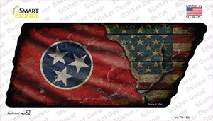 Tennessee American Flag Wholesale Novelty Rusty Tennessee Shape Sticker Decal