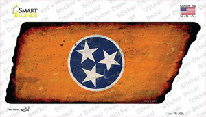 Orange Tennessee Flag Wholesale Novelty Rusty Tennessee Shape Sticker Decal