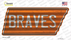 Braves Wholesale Novelty Corrugated Tennessee Shape Sticker Decal
