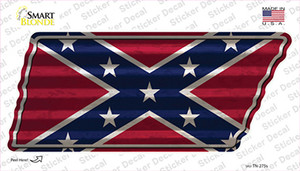 Confederate Flag Wholesale Novelty Corrugated Tennessee Shape Sticker Decal