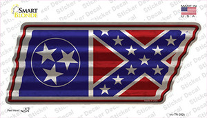 Tennessee Confederate Flag Wholesale Novelty Corrugated Tennessee Shape Sticker Decal