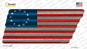 Betsy Ross American Flag Wholesale Novelty Corrugated Tennessee Shape Sticker Decal