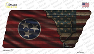 Tennessee American Flag Wholesale Novelty Corrugated Tennessee Shape Sticker Decal