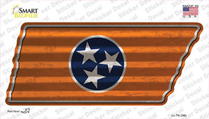 Orange Tennessee Flag Wholesale Novelty Corrugated Tennessee Shape Sticker Decal