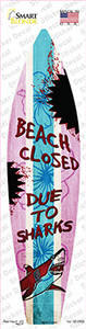 Beach Closed Due To Sharks Wholesale Novelty Surfboard Sticker Decal
