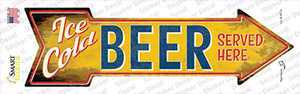 Ice Cold Beer Served Here Wholesale Novelty Arrow Sticker Decal