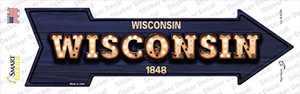 Wisconsin Bulb Lettering Wholesale Novelty Arrow Sticker Decal