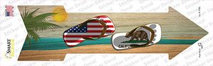US and California Flag Flip Flop Wholesale Novelty Arrow Sticker Decal