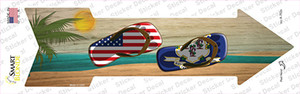 US and Connecticut Flag Flip Flop Wholesale Novelty Arrow Sticker Decal