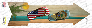 US and Delaware Flag Flip Flop Wholesale Novelty Arrow Sticker Decal