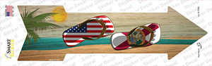 US and Florida Flag Flip Flop Wholesale Novelty Arrow Sticker Decal