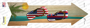 US and Hawaii Flag Flip Flop Wholesale Novelty Arrow Sticker Decal