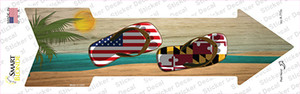 US and Maryland Flag Flip Flop Wholesale Novelty Arrow Sticker Decal