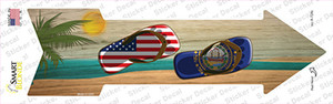 US and New Hampshire Flag Flip Flop Wholesale Novelty Arrow Sticker Decal