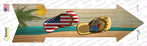 US and New Jersey Flag Flip Flop Wholesale Novelty Arrow Sticker Decal