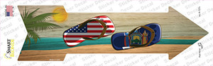 US and New York Flag Flip Flop Wholesale Novelty Arrow Sticker Decal