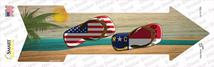 US and North Carolina Flag Flip Flop Wholesale Novelty Arrow Sticker Decal