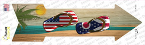 US and Ohio Flag Flip Flop Wholesale Novelty Arrow Sticker Decal