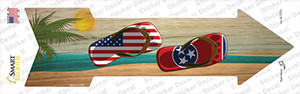 US and Tennessee Flag Flip Flop Wholesale Novelty Arrow Sticker Decal