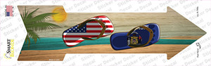 US and Wisconsin Flag Flip Flop Wholesale Novelty Arrow Sticker Decal
