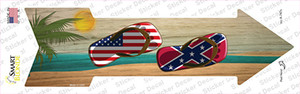 US and Confederate Flag Flip Flop Wholesale Novelty Arrow Sticker Decal