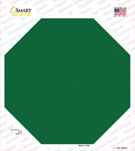 Green Solid Wholesale Novelty Octagon Sticker Decal