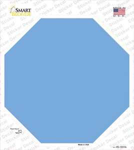 Light Blue Solid Wholesale Novelty Octagon Sticker Decal
