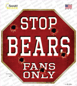 Bears Fans Only Wholesale Novelty Octagon Sticker Decal