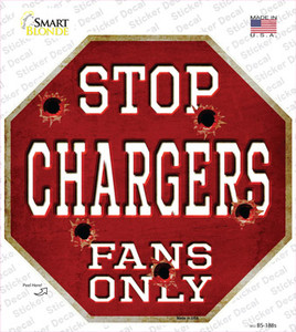 Chargers Fans Only Wholesale Novelty Octagon Sticker Decal