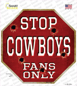 Cowboys Fans Only Wholesale Novelty Octagon Sticker Decal