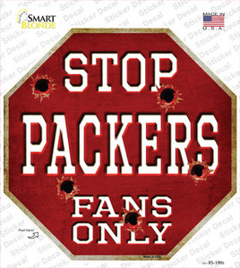 Packers Fans Only Wholesale Novelty Octagon Sticker Decal