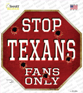 Texans Fans Only Wholesale Novelty Octagon Sticker Decal