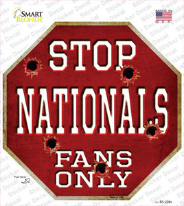 Nationals Fans Only Wholesale Novelty Octagon Sticker Decal