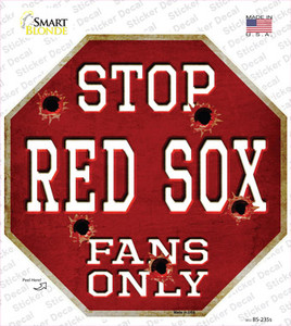 Red Sox Fans Only Wholesale Novelty Octagon Sticker Decal