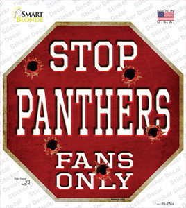 Panthers Fans Only Bullet Wholesale Novelty Octagon Sticker Decal