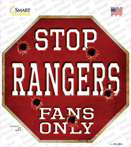 Rangers Fans Only Bullet Wholesale Novelty Octagon Sticker Decal