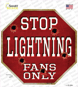 Lightning Fans Only Wholesale Novelty Octagon Sticker Decal