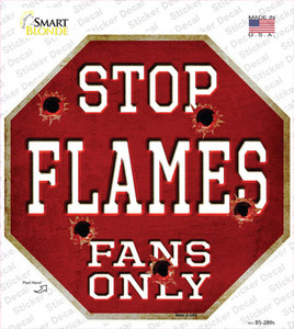 Flames Fans Only Wholesale Novelty Octagon Sticker Decal